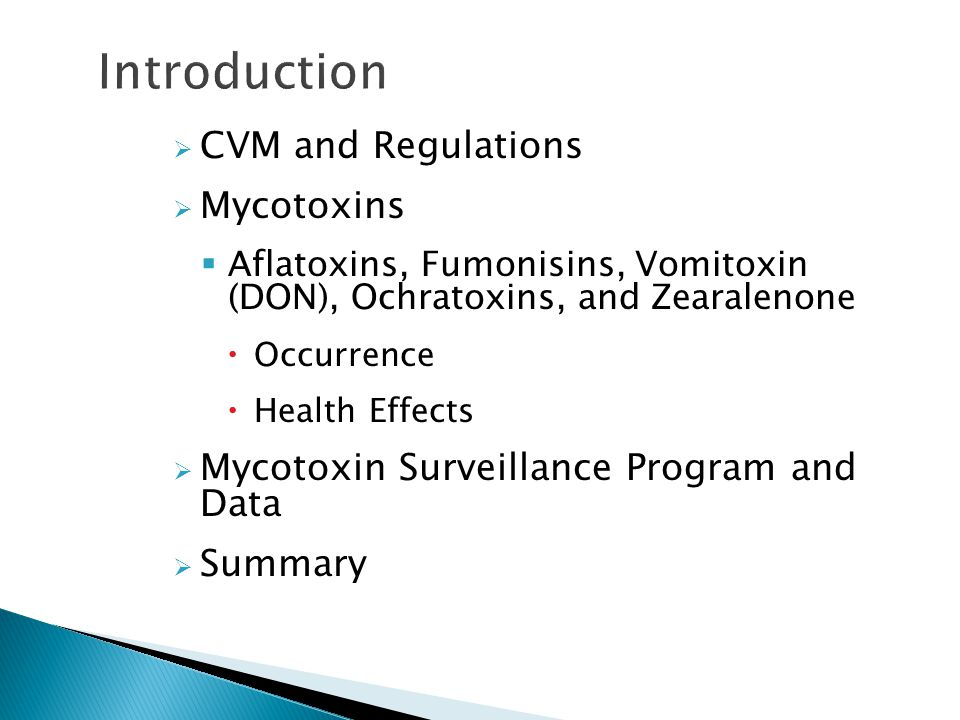 Introduction CVM and Regulations Mycotoxins