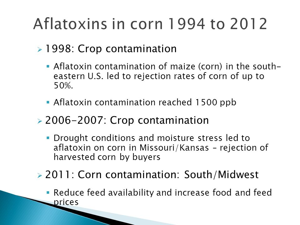 Aflatoxins in corn 1994 to 2012 1998: Crop contamination