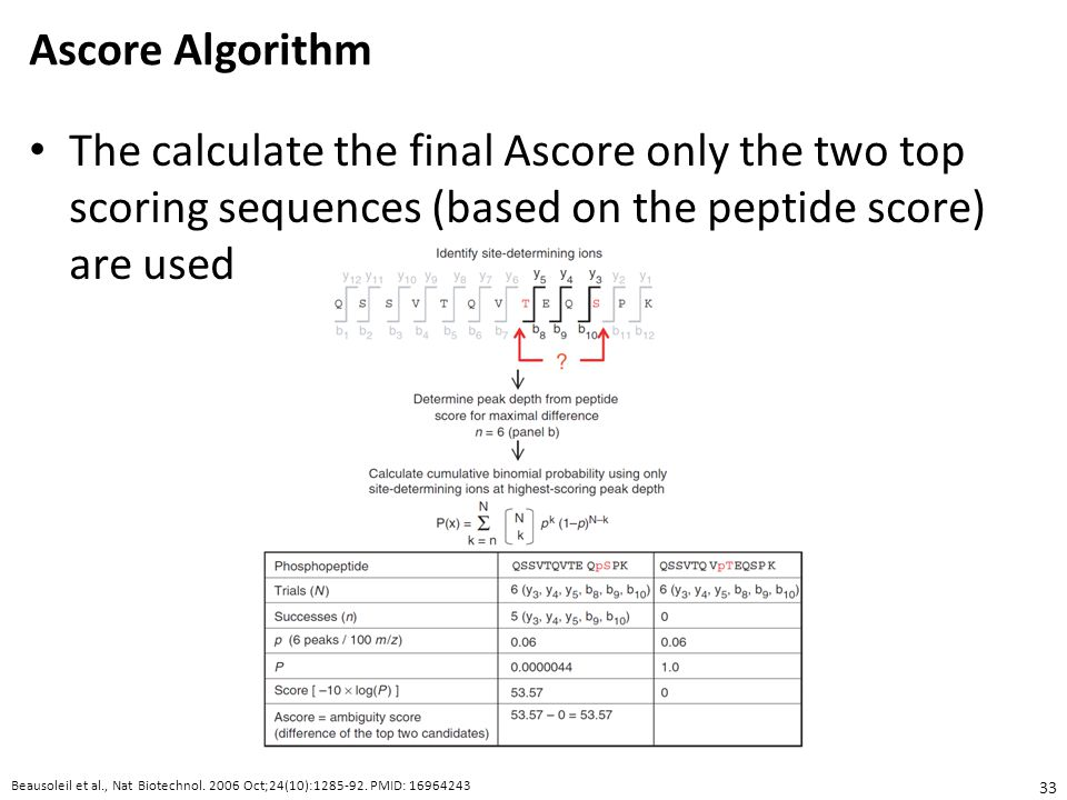 Ascore Algorithm The calculate the final Ascore only the two top scoring sequences (based on the peptide score) are used.