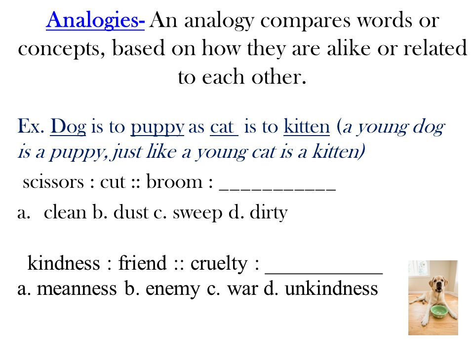 Analogies- An analogy compares words or concepts, based on how they are alike or related to each other.