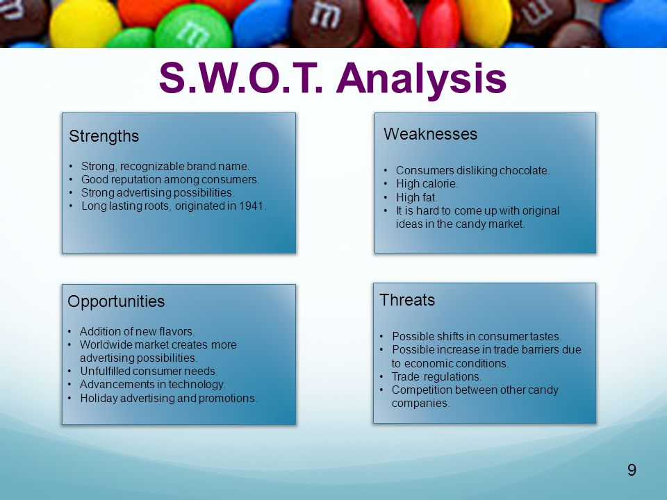 S.W.O.T. Analysis Strengths Weaknesses Opportunities Threats 9