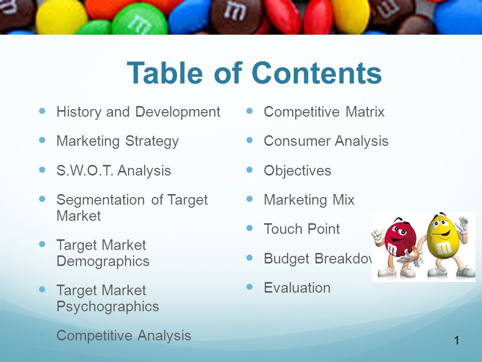Table of Contents History and Development Competitive Matrix