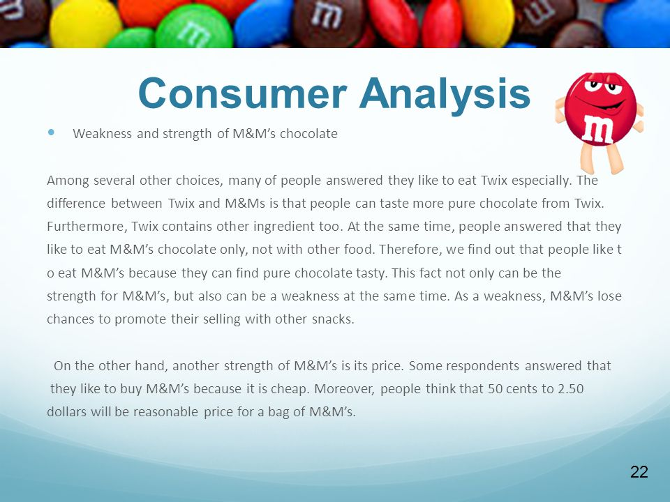 Consumer Analysis 22 Weakness and strength of M&M's chocolate