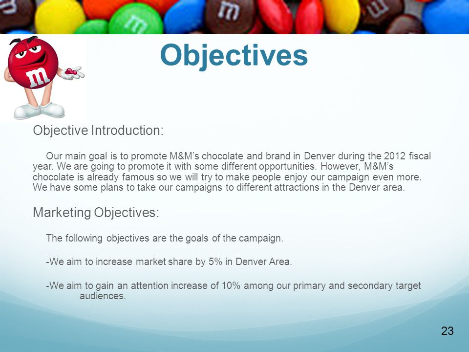 Objectives Objective Introduction: Marketing Objectives: 23