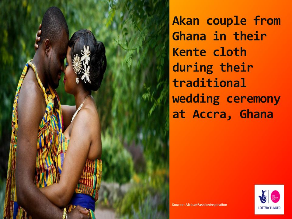 Akan couple from Ghana in their Kente cloth during their traditional wedding ceremony at Accra, Ghana