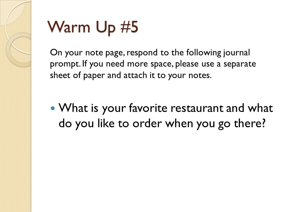 Warm Up #5