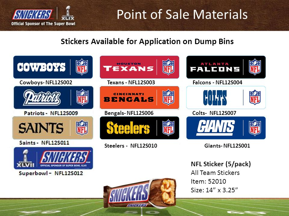 Stickers Available for Application on Dump Bins