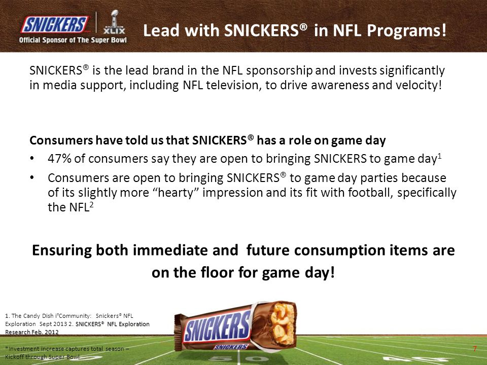 Lead with SNICKERS® in NFL Programs!