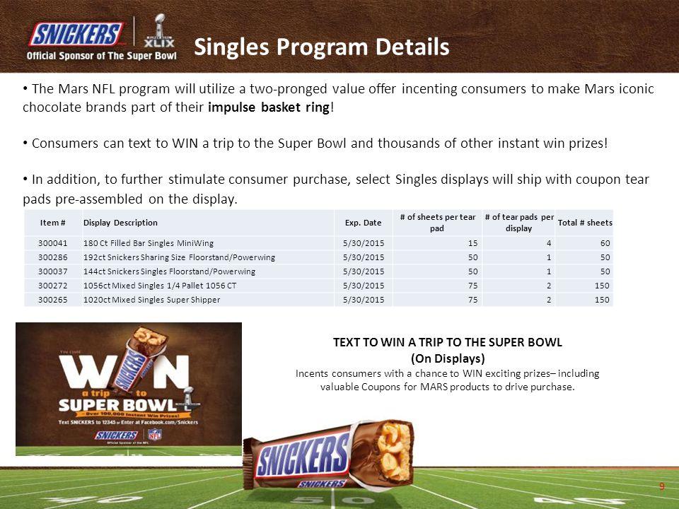 Singles Program Details