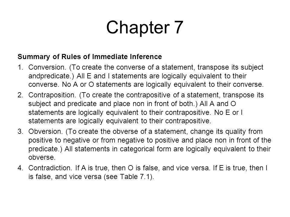 Chapter 7 Summary of Rules of Immediate Inference