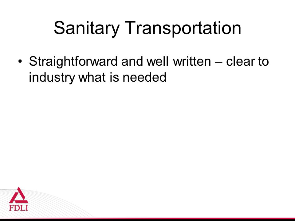 Sanitary Transportation