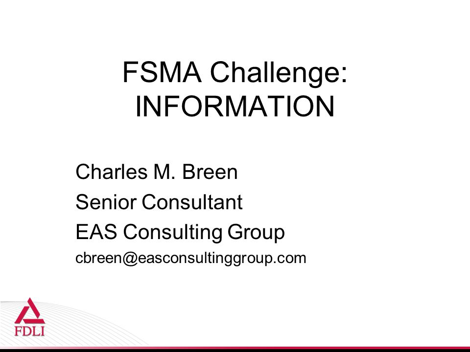 FSMA Challenge: INFORMATION