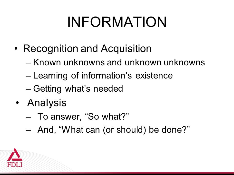 INFORMATION Recognition and Acquisition Analysis
