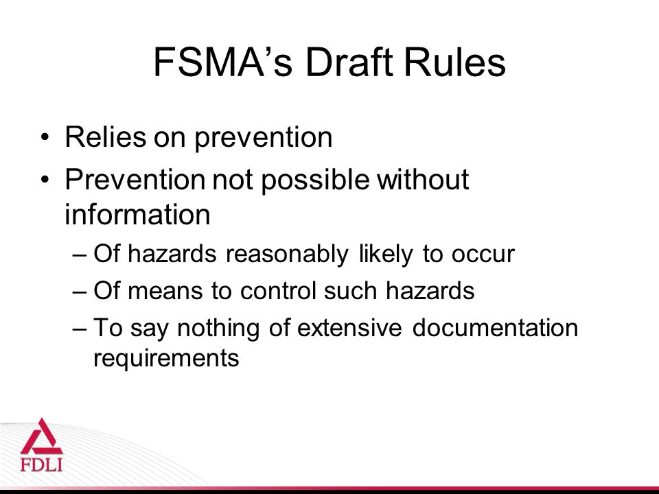 FSMA's Draft Rules Relies on prevention