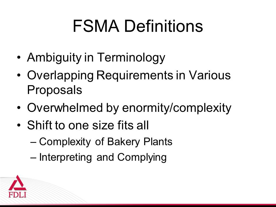 FSMA Definitions Ambiguity in Terminology