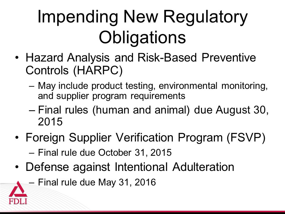 Impending New Regulatory Obligations