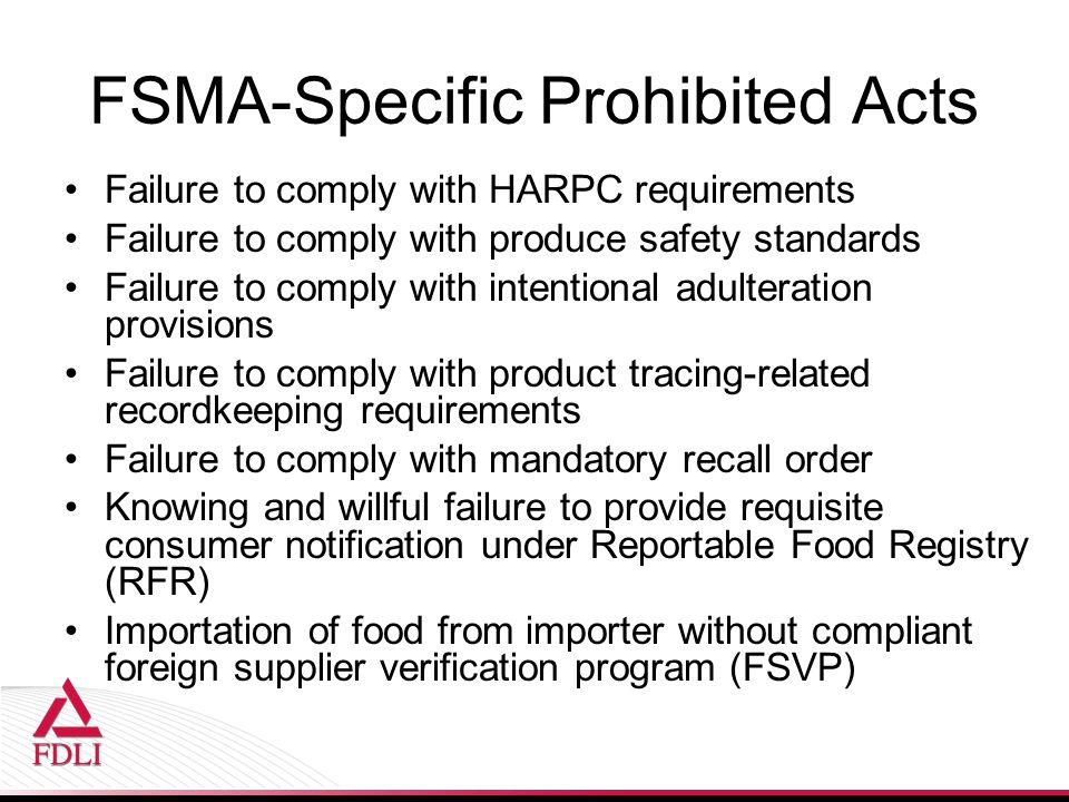 FSMA-Specific Prohibited Acts