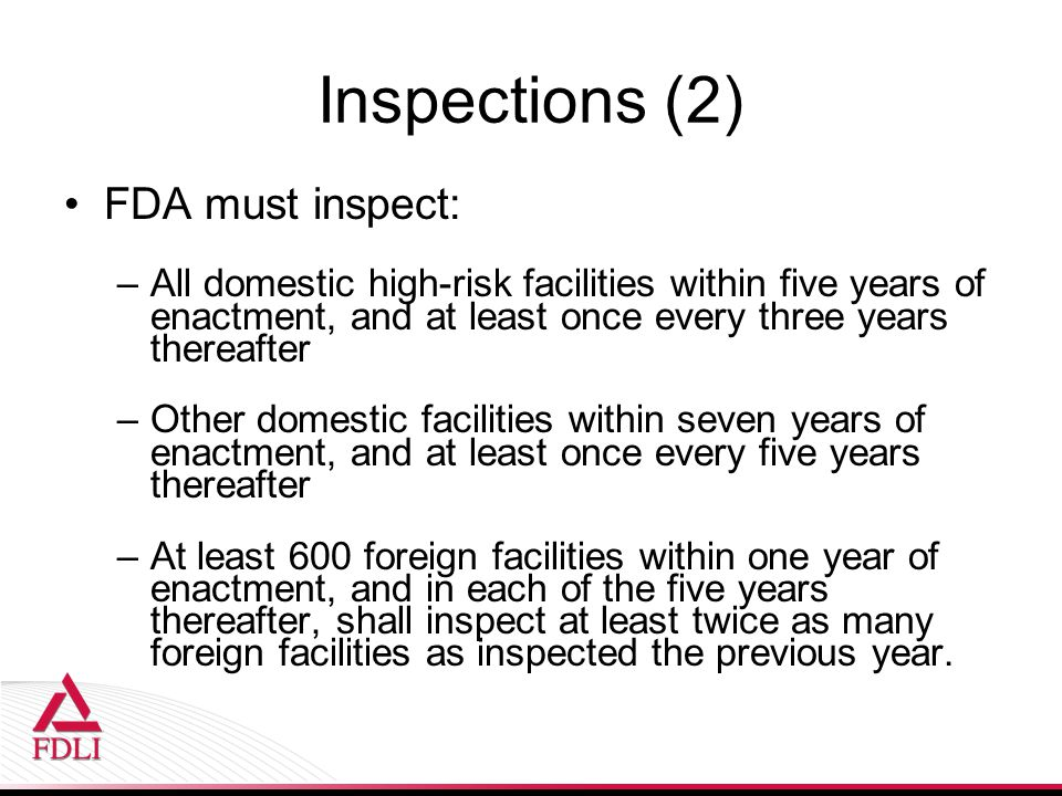 Inspections (2) FDA must inspect: