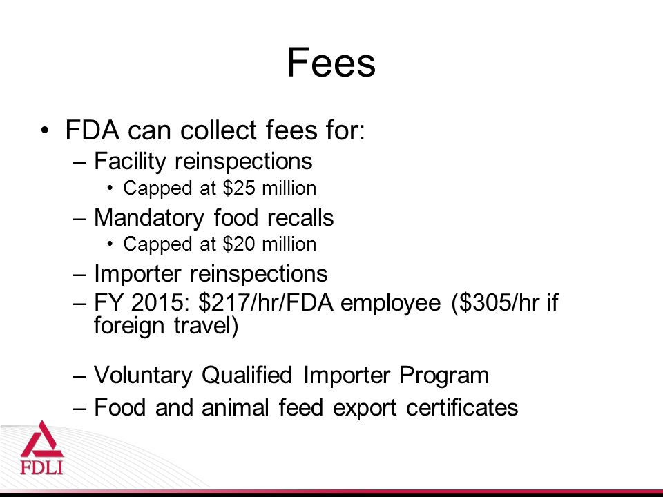 Fees FDA can collect fees for: Facility reinspections