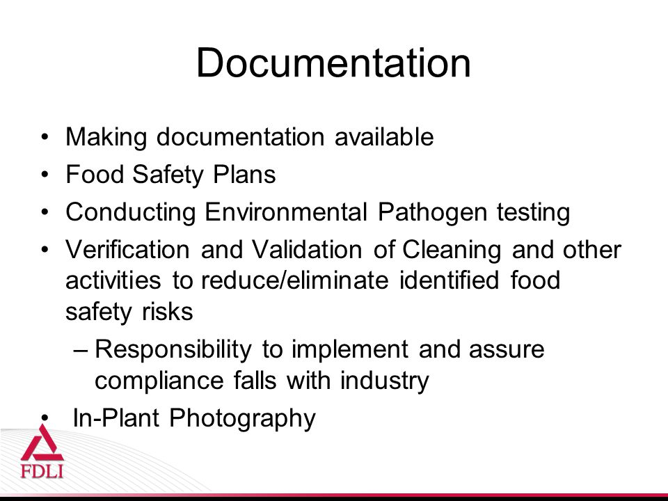 Documentation Making documentation available Food Safety Plans