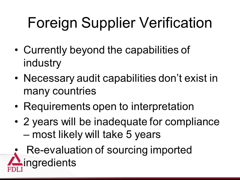 Foreign Supplier Verification