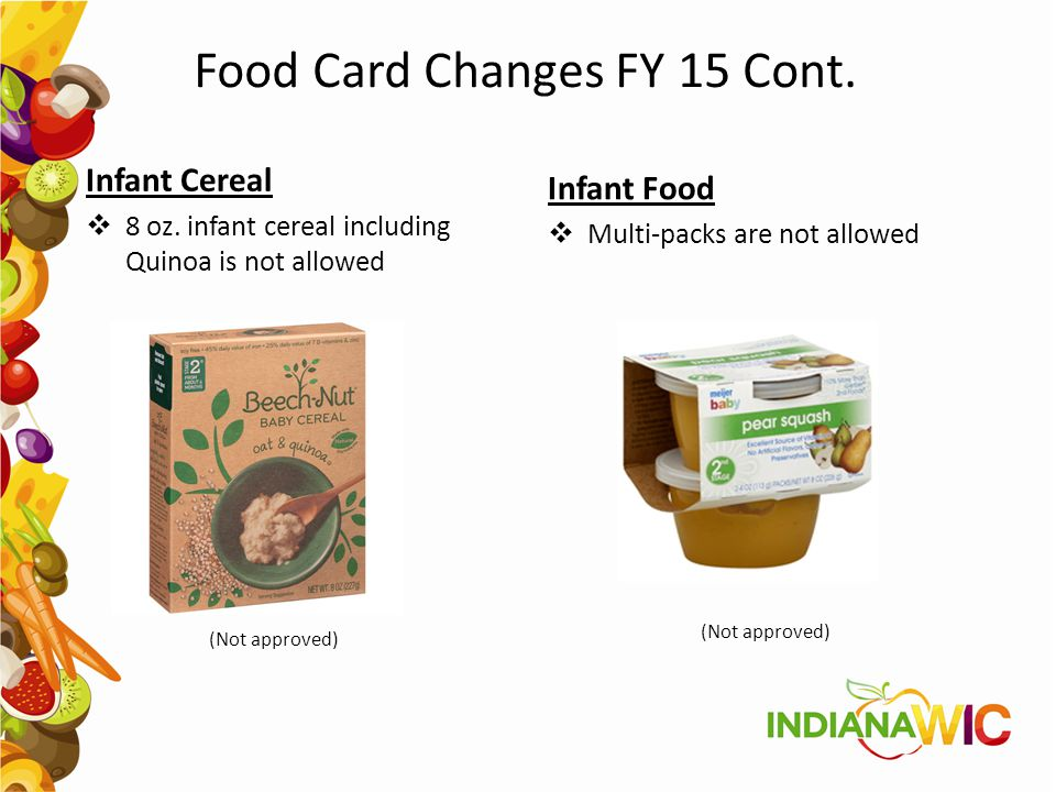 Food Card Changes FY 15 Cont.