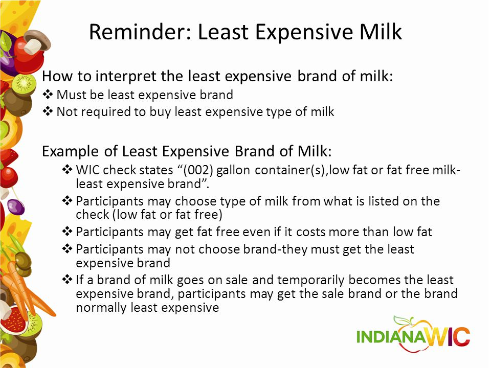 Reminder: Least Expensive Milk