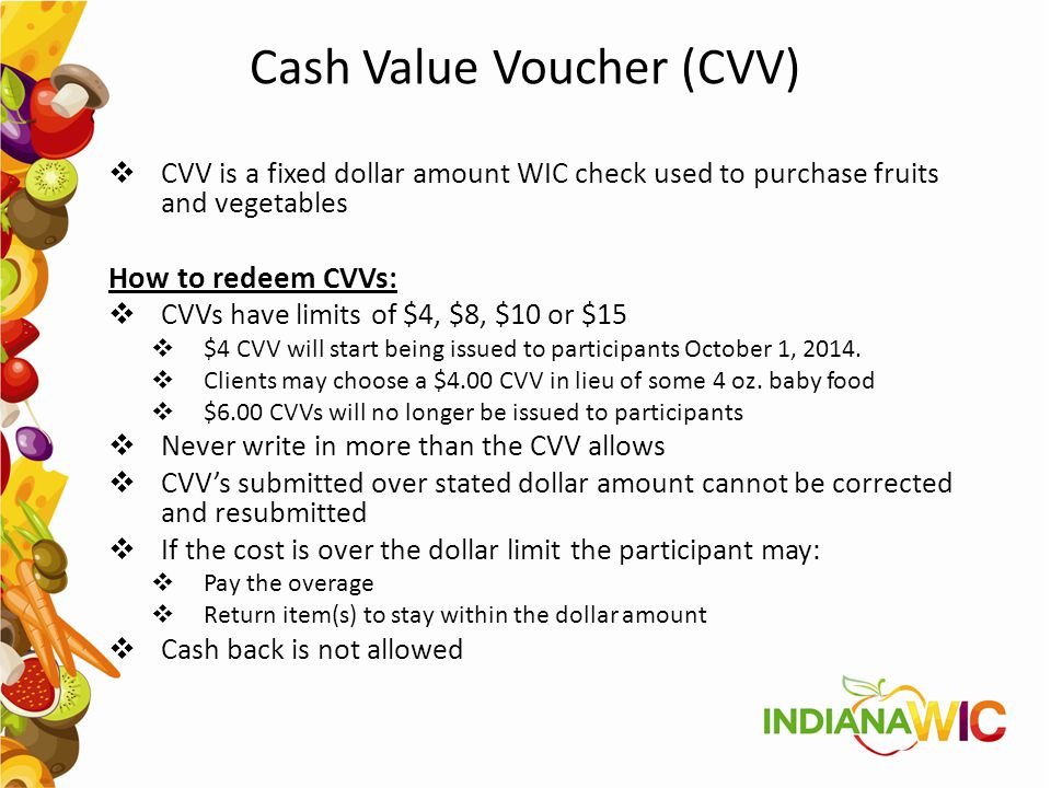 Cash Value Voucher (CVV)