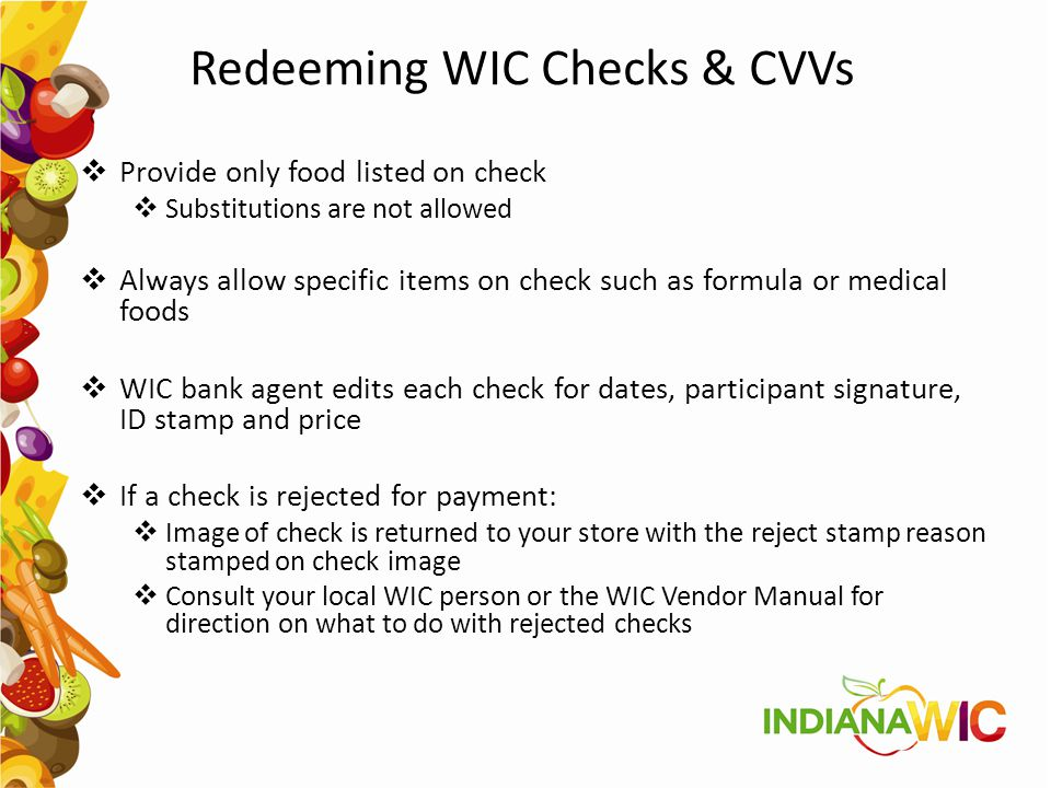 Redeeming WIC Checks & CVVs