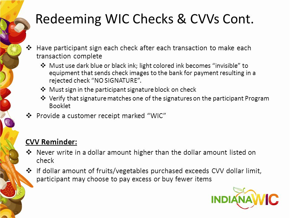 Redeeming WIC Checks & CVVs Cont.