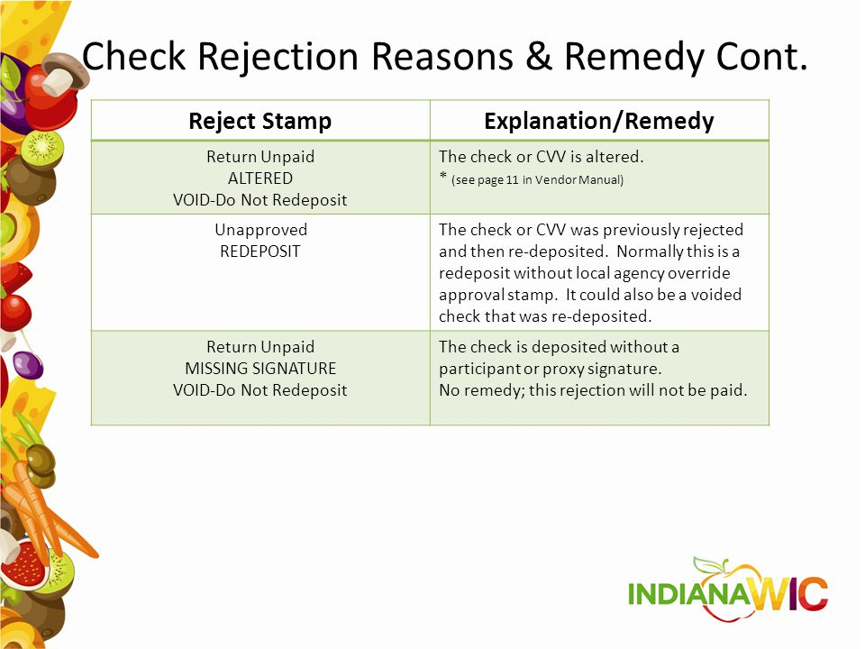 Check Rejection Reasons & Remedy Cont.