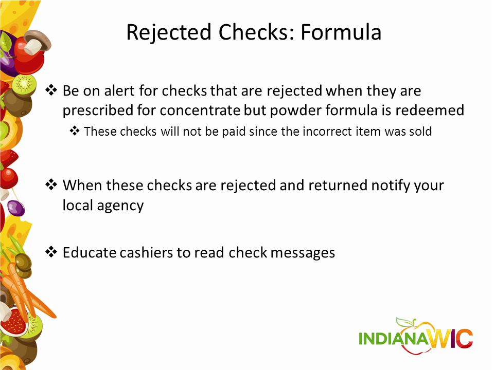 Rejected Checks: Formula