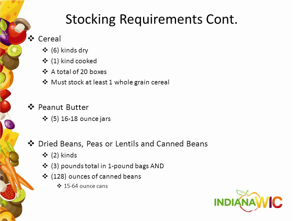Stocking Requirements Cont.
