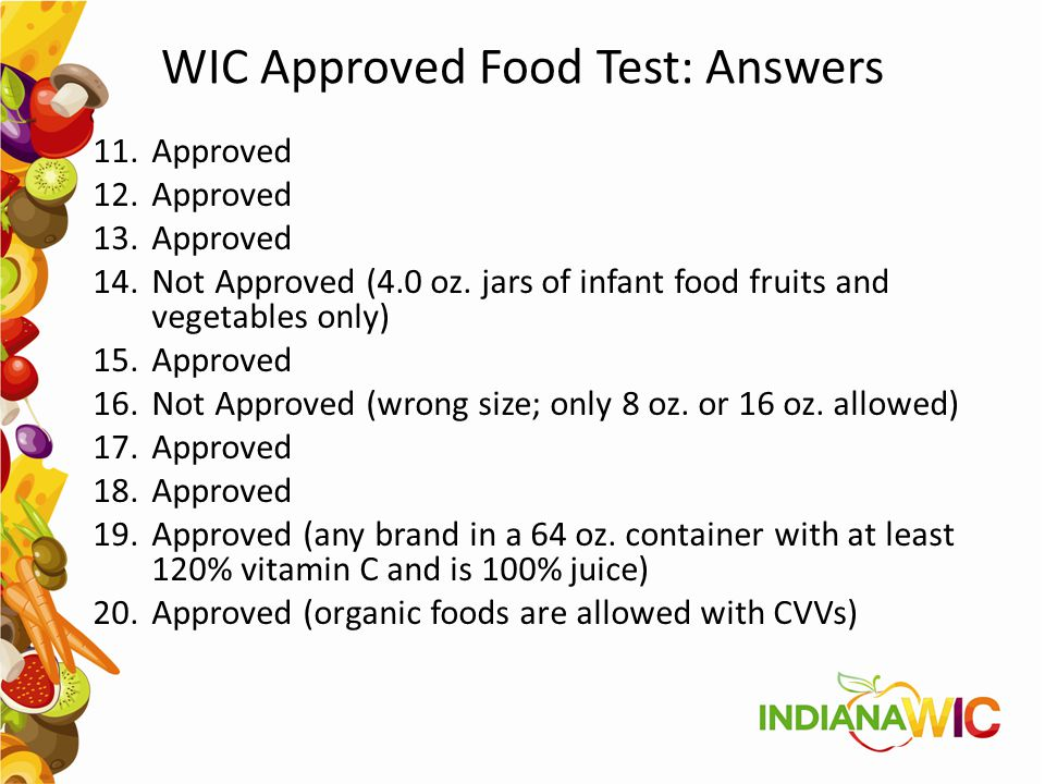 WIC Approved Food Test: Answers