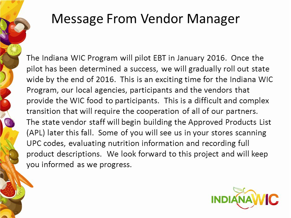 Message From Vendor Manager