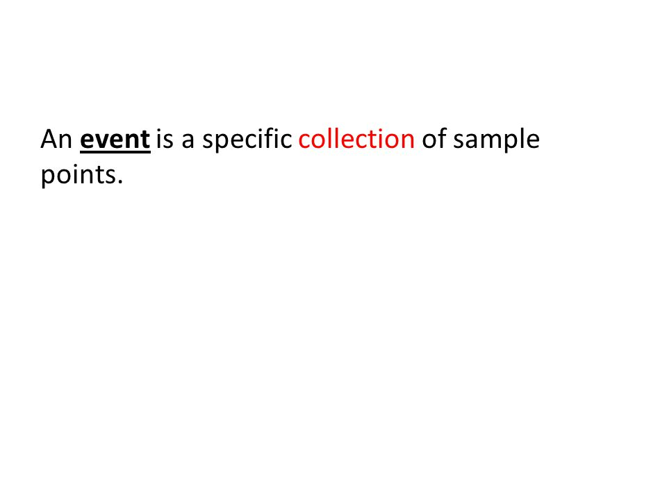 An event is a specific collection of sample points.
