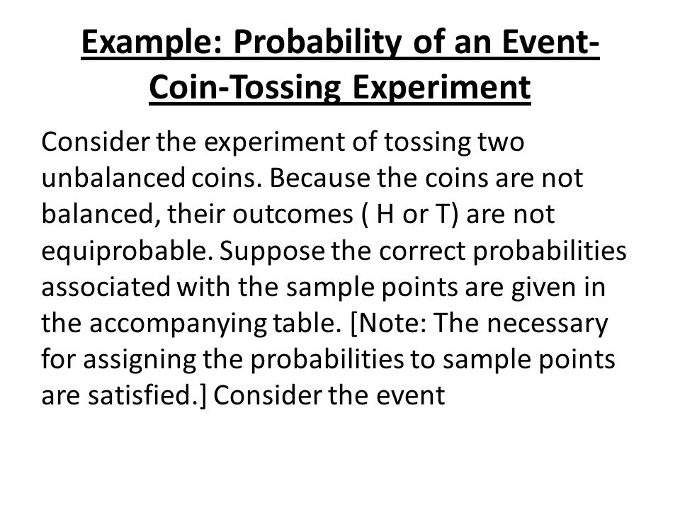 Example: Probability of an Event-Coin-Tossing Experiment