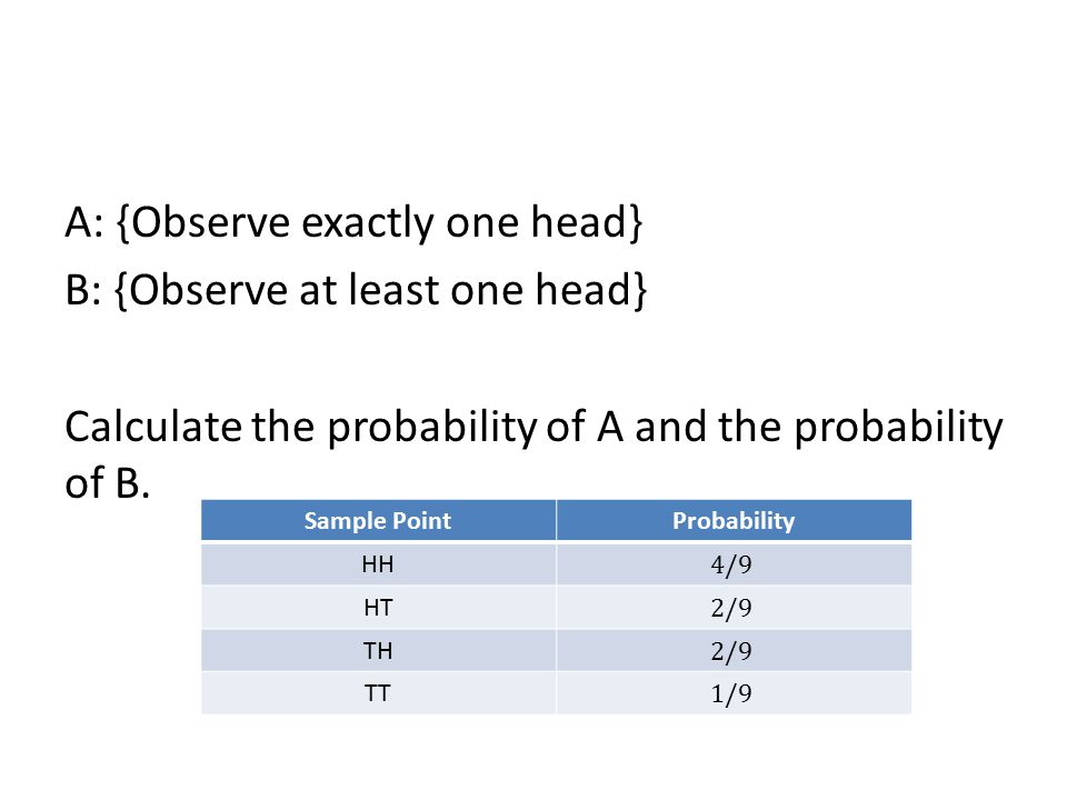 A: {Observe exactly one head} B: {Observe at least one head} Calculate the probability of A and the probability of B.
