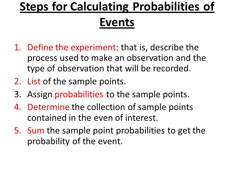 Steps for Calculating Probabilities of Events