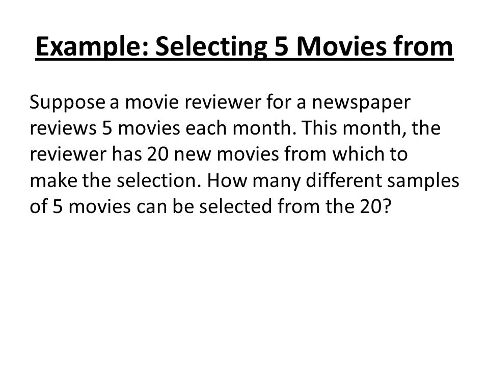 Example: Selecting 5 Movies from