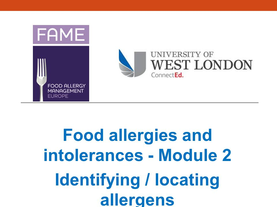 Food allergies and intolerances - Module 2