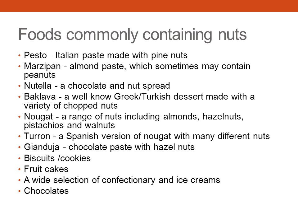 Foods commonly containing nuts