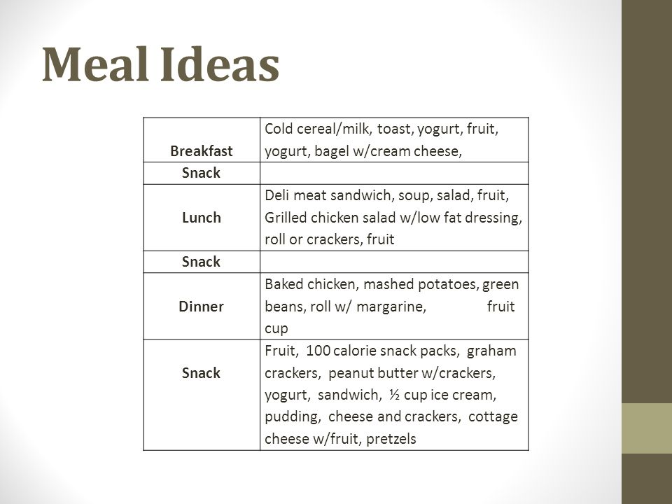 Meal Ideas Breakfast. Cold cereal/milk, toast, yogurt, fruit, yogurt, bagel w/cream cheese, Snack.