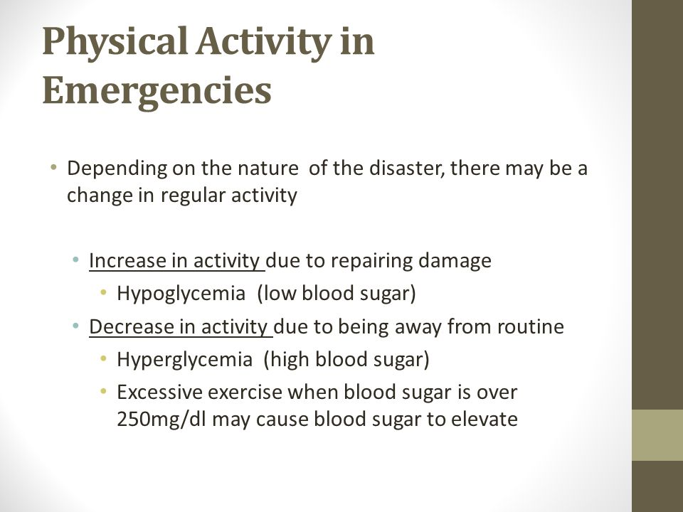 Physical Activity in Emergencies