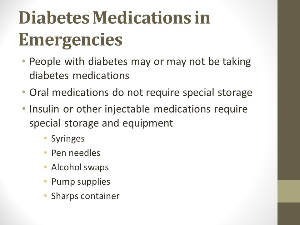 Diabetes Medications in Emergencies