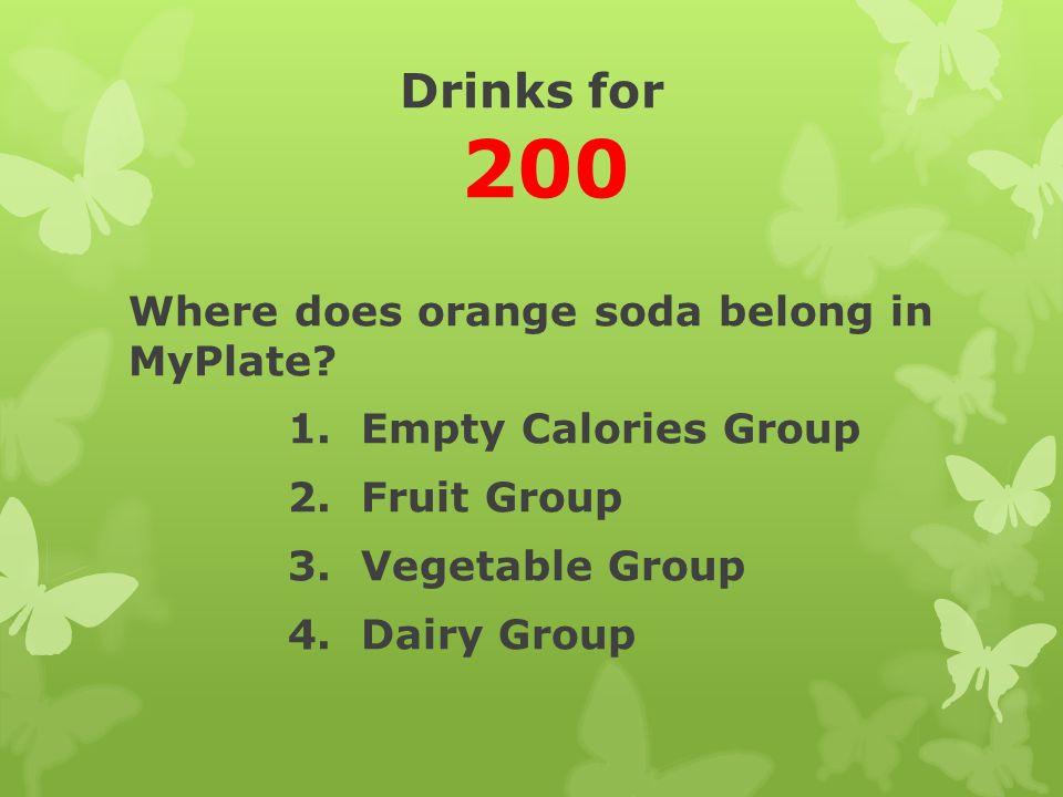 Drinks for 200 Where does orange soda belong in MyPlate.