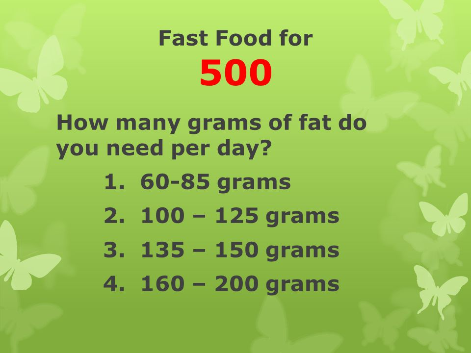 Fast Food for 500 How many grams of fat do you need per day.