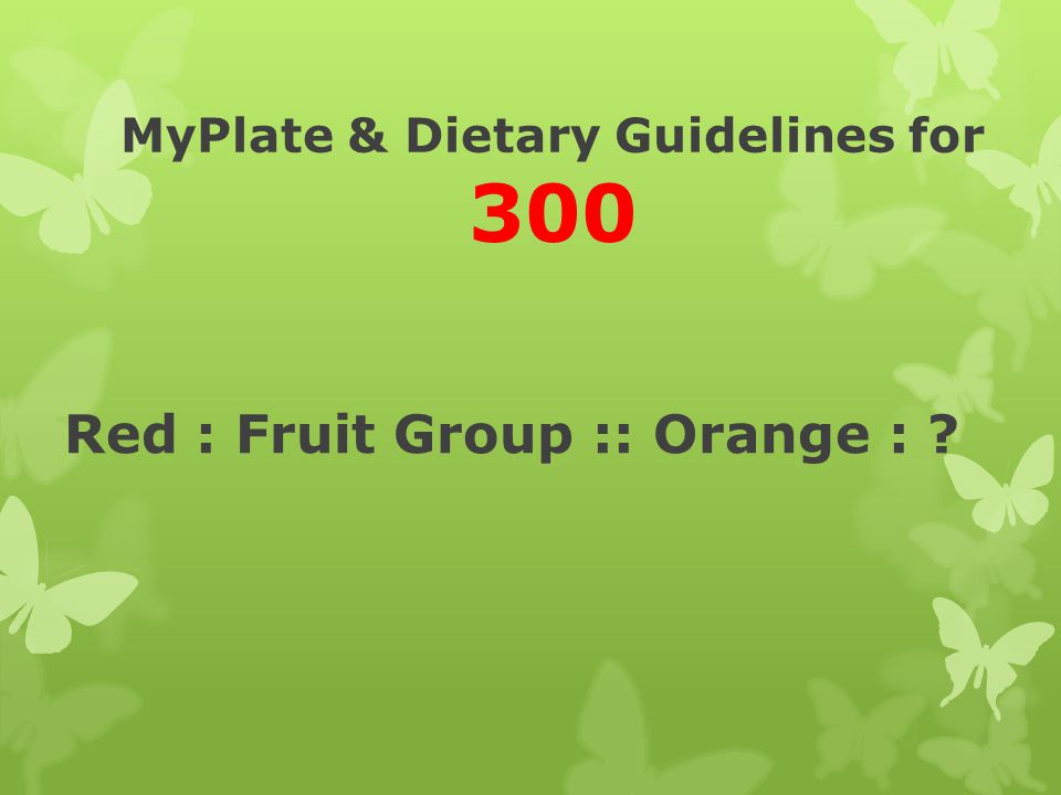MyPlate & Dietary Guidelines for 300