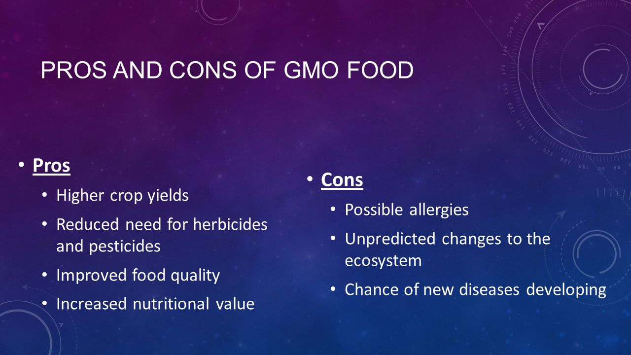 gmo pros and cons The pro and cons of gmo, or genetically modified foods, are discussed in this article everything from health effects to the damage caused to the environment is.