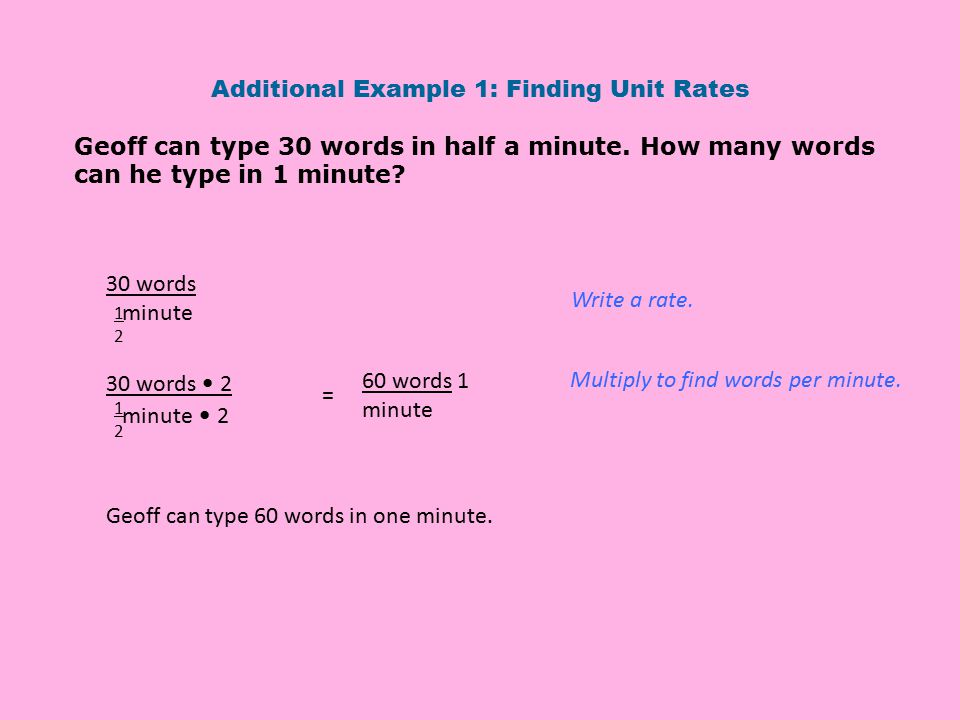 Additional Example 1: Finding Unit Rates